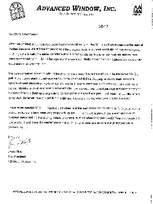 Advanced Window, Inc. Testimonial Letter